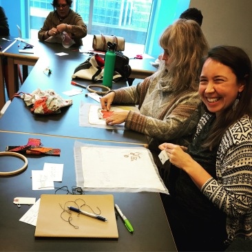 """Needle & Myth"" participants working in the Anchorage Museum's Art Lab. Photo: Amy Meissner, 2017."