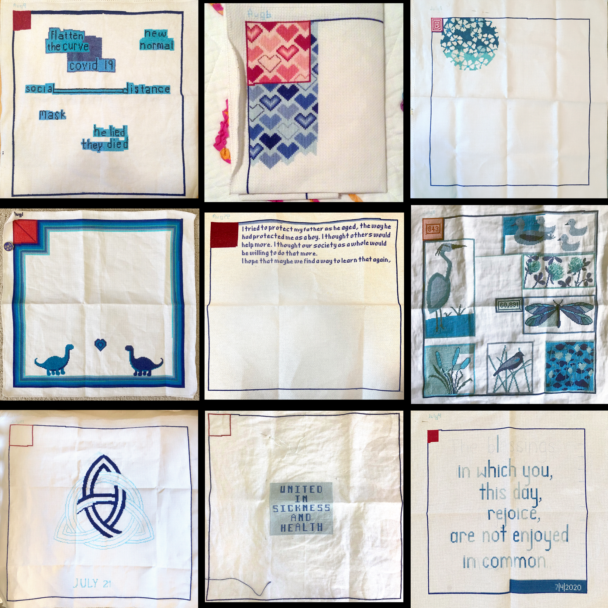 nine stitched cloths, with varying designs