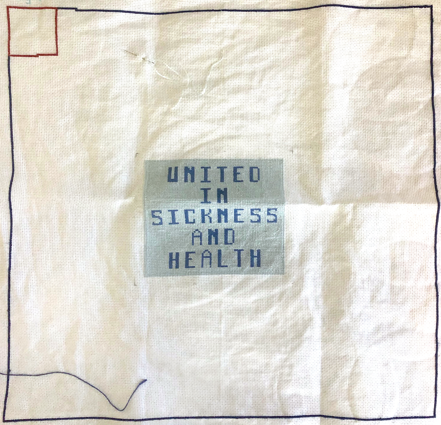 Square stitched with text: 'United in Sickness and Health'.